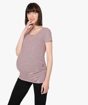 Tee-shirt de grossesse imprimé avec grand col rond vue2 - GEMO (MATER) - GEMO