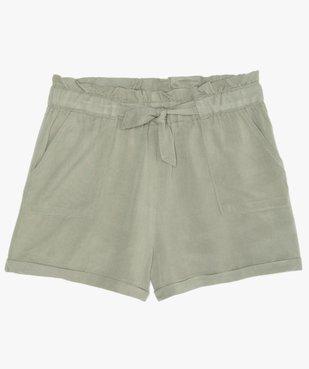 Short fille ample avec ceinture froncée et revers cousus vue1 - GEMO (JUNIOR) - GEMO