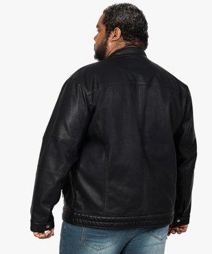 Blouson homme motard imitation cuir vue3 - GEMO (G TAILLE) - GEMO