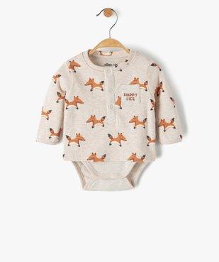 Body bébé à manches longues effet tee-shirt vue1 - GEMO(BB COUCHE) - GEMO
