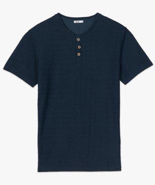 Tee-shirt homme à col tunisien en maille texturée aspect rayé vue4 - GEMO (HOMME) - GEMO