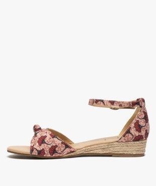 Sandales femme à petit talon compensé et dessus drapé vue3 - GEMO (CASUAL) - GEMO