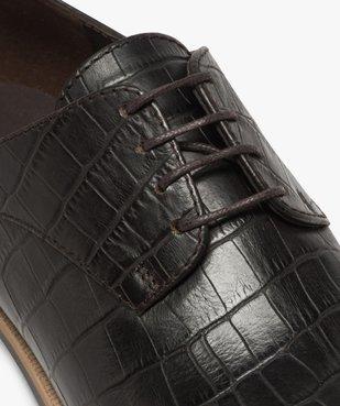 Derbies femme unis dessus cuir et semelle tricolore Dessus cuir imitation croco vue6 - GEMO (CASUAL) - GEMO