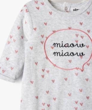 Pyjama bébé fille en velours avec motifs cœurs  vue2 - GEMO(BB COUCHE) - GEMO
