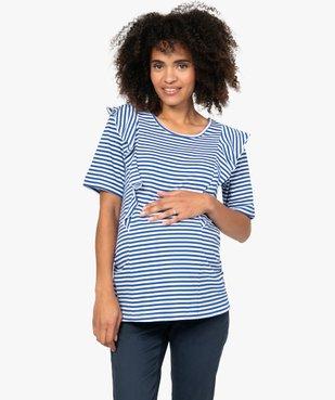 Tee-shirt de grossesse rayé à volants vue1 - GEMO (MATER) - GEMO