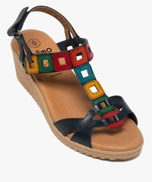 Sandales femme à talon compensé et brides en cuir colorées vue5 - GEMO(URBAIN) - GEMO