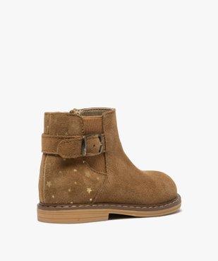 Boots bébé fille zippées style chelsea dessus cuir retourné vue4 - GEMO(BEBE DEBT) - GEMO