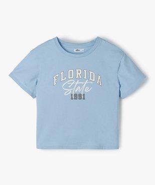 Tee-shirt fille court avec inscription vue1 - GEMO (JUNIOR) - GEMO
