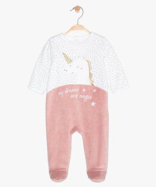 Pyjama bébé en velours motif licorne à pont-dos pressionné vue1 - GEMO(BB COUCHE) - GEMO