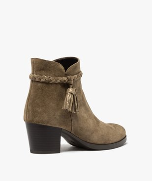 Boots femme unies à talon dessus cuir et bride fantaisie vue5 - GEMO(URBAIN) - GEMO