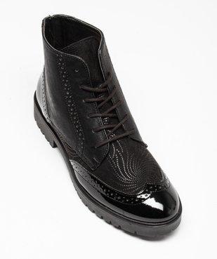 Boots femme unies dessus verni et bout golf perforé vue5 - GEMO (CASUAL) - GEMO
