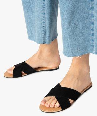 Sandales femme à larges brides croisées souples dessus suédine vue1 - GEMO (CASUAL) - GEMO