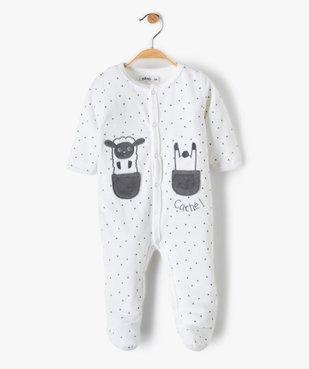 Pyjama bébé en velours fermeture devant motifs étoiles vue1 - GEMO(BB COUCHE) - GEMO