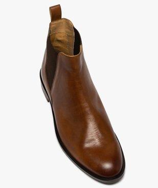 Boots homme style chelsea unis dessus cuir vue5 - GEMO(URBAIN) - GEMO