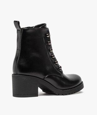Boots femme à talon carré avec lacets chaînettes vue4 - GEMO(URBAIN) - GEMO