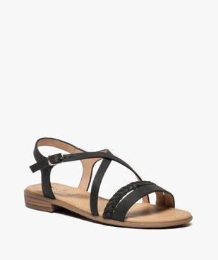 Sandales femme à talon plat et brides croisées vue2 - GEMO (CASUAL) - GEMO