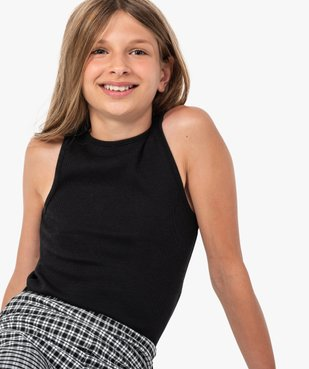 Débardeur fille ado côtelé en coton stretch vue1 - GEMO (JUNIOR) - GEMO