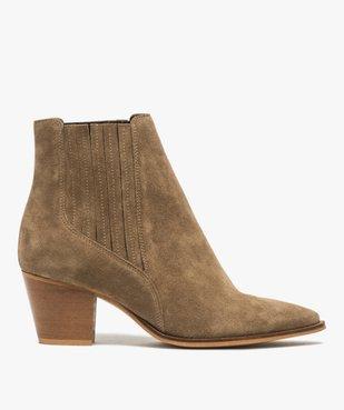 Boots femme à talon dessus cuir uni style santiag vue1 - GEMO(URBAIN) - GEMO