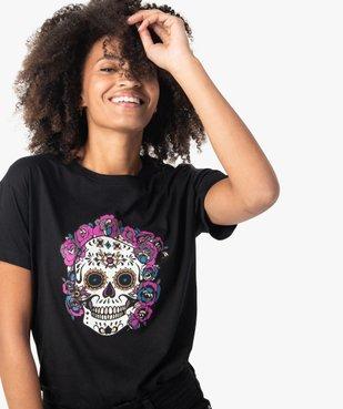 Tee-shirt femme à manches courtes avec motif tête de mort vue2 - GEMO(FEMME PAP) - GEMO