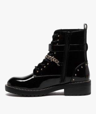 Boots femme vernis à détails métallisés style rock vue3 - GEMO (CASUAL) - GEMO