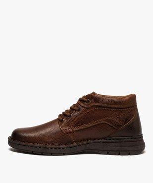Boots homme à lacets dessus cuir uni  vue3 - GEMO (CASUAL) - GEMO