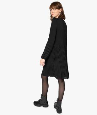 Robe de soirée femme en matière crêpe plissée avec manches longues vue3 - GEMO(FEMME PAP) - GEMO