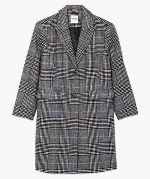 Manteau femme mi-long à carreaux vue4 - GEMO (G TAILLE) - GEMO