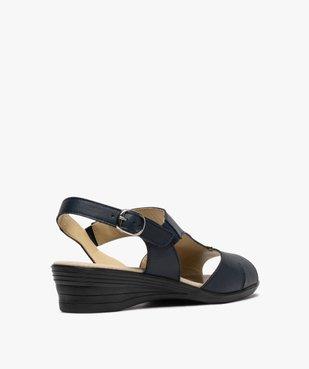 Sandales femme confort en cuir avec petit talon vue4 - GEMO (CONFORT) - GEMO