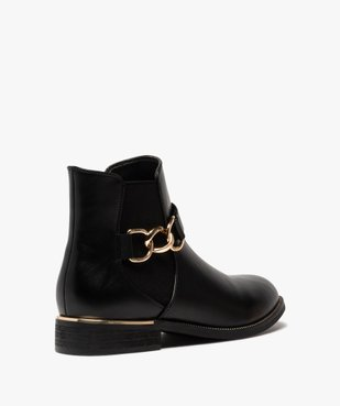 Boots femme unis à talon plat et chaine métallique vue4 - GEMO (CASUAL) - GEMO