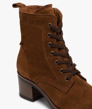 Boots femme à talon carré dessus cuir retourné uni vue6 - GEMO(URBAIN) - GEMO