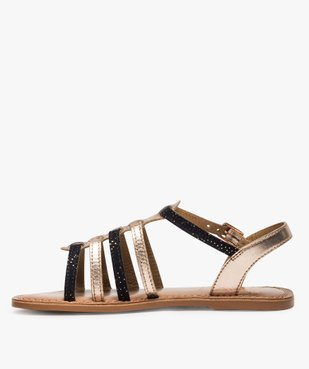Sandales fille style tropéziennes en cuir métallisé vue3 - GEMO (ENFANT) - GEMO