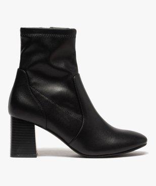 Boots femme unies à talon carré et col ajusté vue1 - GEMO(URBAIN) - GEMO