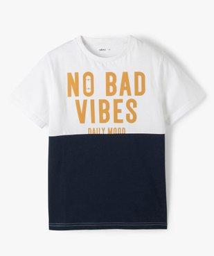 Tee-shirt garçon à manches courtes avec message vue1 - GEMO (ENFANT) - GEMO