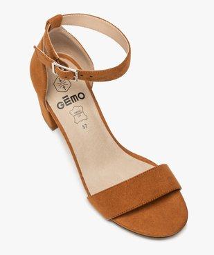 Sandales femme à talon large et bride cheville dessus suédine vue5 - GEMO(URBAIN) - GEMO