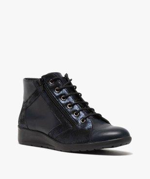 Boots femme confort zippées à talon compensé dessus cuir vue2 - GEMO (CONFORT) - GEMO