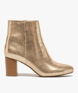 Boots femme à talon carré dessus métallisé vue1 - GEMO(URBAIN) - GEMO