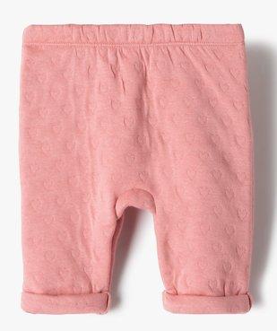 Pantalon bébé fille en maille effet matelassé vue3 - GEMO(BB COUCHE) - GEMO