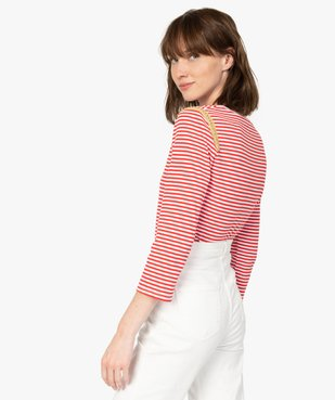 Tee-shirt femme rayé à manches longues en maille côtelée vue3 - Nikesneakers(FEMME PAP) - Nikesneakers