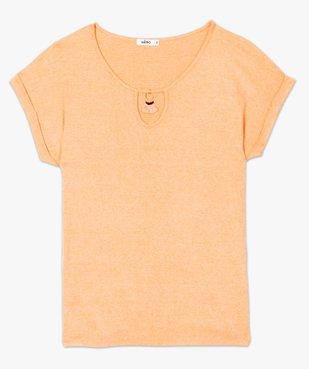 Tee-shirt femme en maille gaufrée avec petit bijou au col vue4 - GEMO(FEMME PAP) - GEMO
