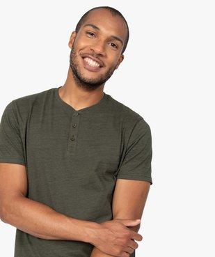 Tee-shirt homme chiné à manches courtes et col tunisien  vue5 - GEMO C4G HOMME - GEMO