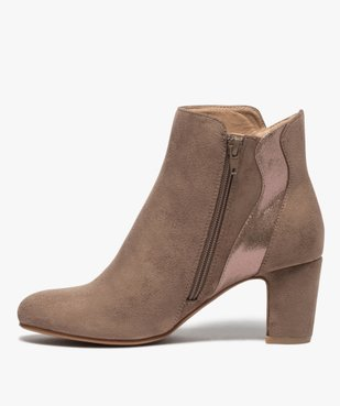 Boots femme à talon unis dessus suédine et textile brillant vue3 - GEMO(URBAIN) - GEMO