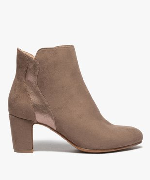 Boots femme à talon unis dessus suédine et textile brillant vue1 - GEMO(URBAIN) - GEMO