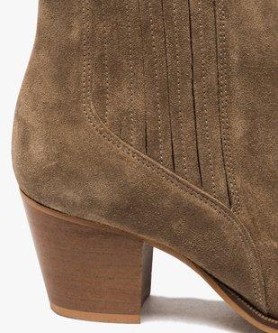 Boots femme à talon dessus cuir uni style santiag vue6 - GEMO(URBAIN) - GEMO