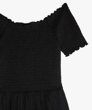 Robe fille en maille gaufrée et buste à smocks vue2 - GEMO (JUNIOR) - GEMO