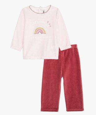 Pyjama bébé fille en velours et motif arc-en-ciel vue1 - GEMO(BB COUCHE) - GEMO