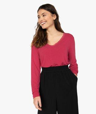 Tee-shirt femme à manches longues et col V en dentelle vue1 - GEMO(FEMME PAP) - GEMO