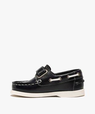 Chaussures bateau garçon dessus cuir à fermeture scratch vue3 - GEMO (ENFANT) - GEMO