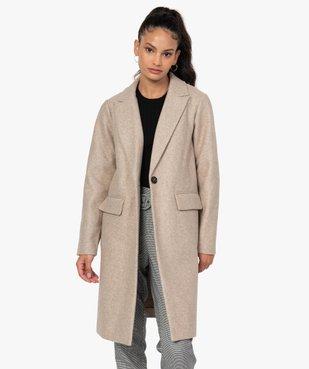 Manteau femme mi-long à col tailleur et fermeture 1 bouton vue1 - GEMO(FEMME PAP) - GEMO