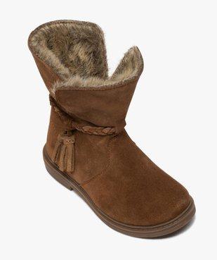 Boots fille zippées dessus cuir et col fourrure imitation vue5 - GEMO (ENFANT) - GEMO