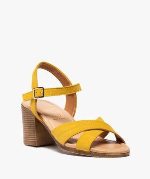 Sandales femme à talon carré coupe spéciale pied large vue2 - GEMO(URBAIN) - GEMO
